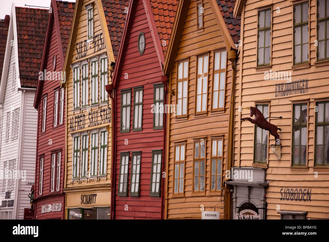 Scandinavia Norway Bryggen shop fronts - Stock Image