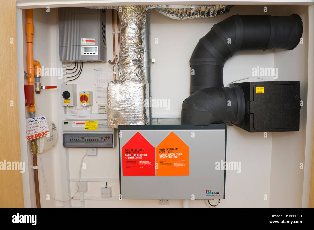Energy efficient heat recovery ventilation system used in an environmentally sustainable zero carbon passive house - Stock Image