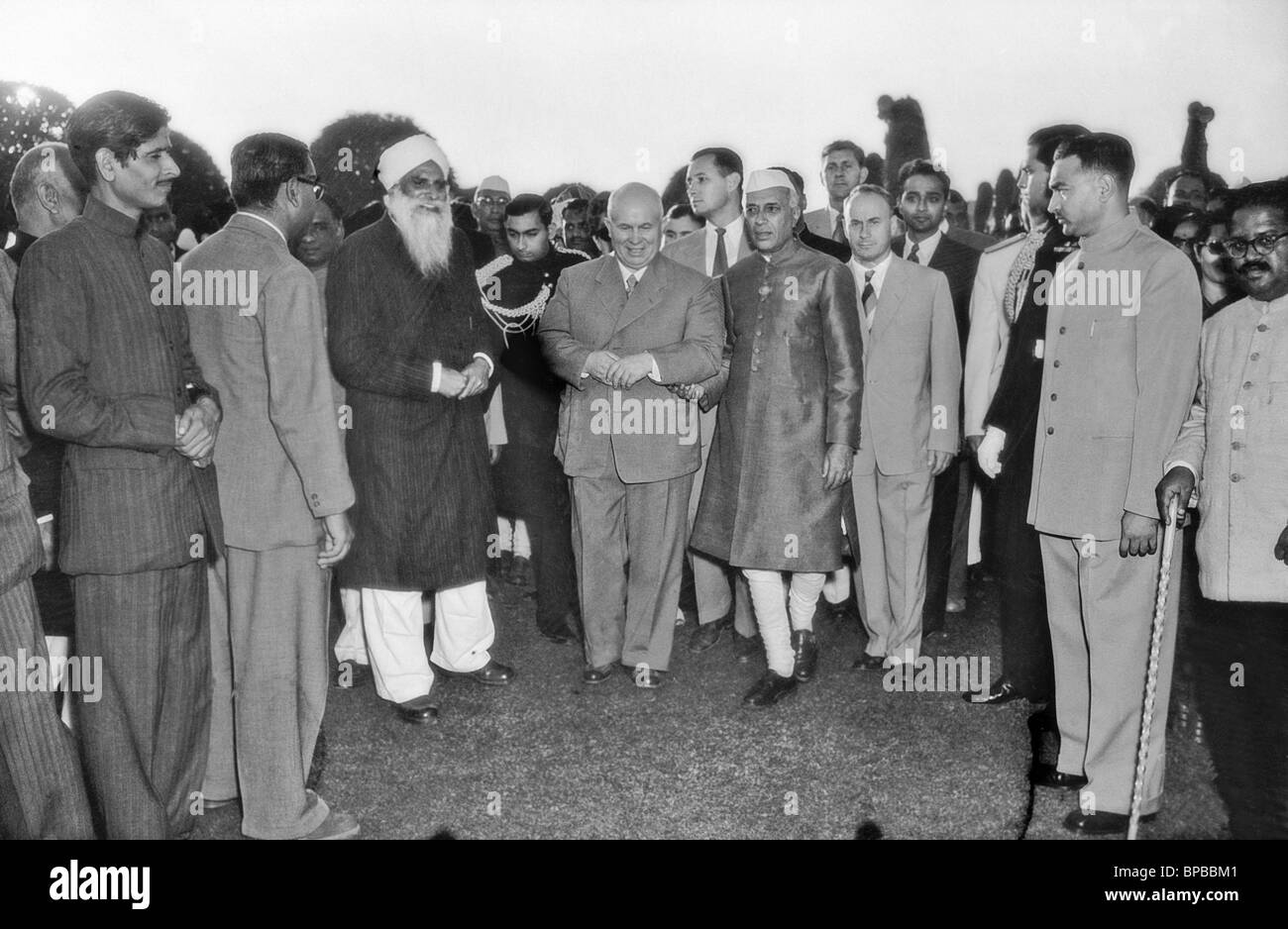 Nikita Khrushchev and Jawaharlal Nehru, 1955 - Stock Image