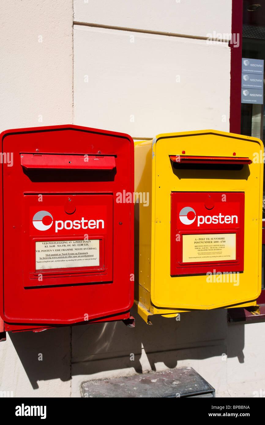 Posten Norge Norwegian post box Norway - Stock Image