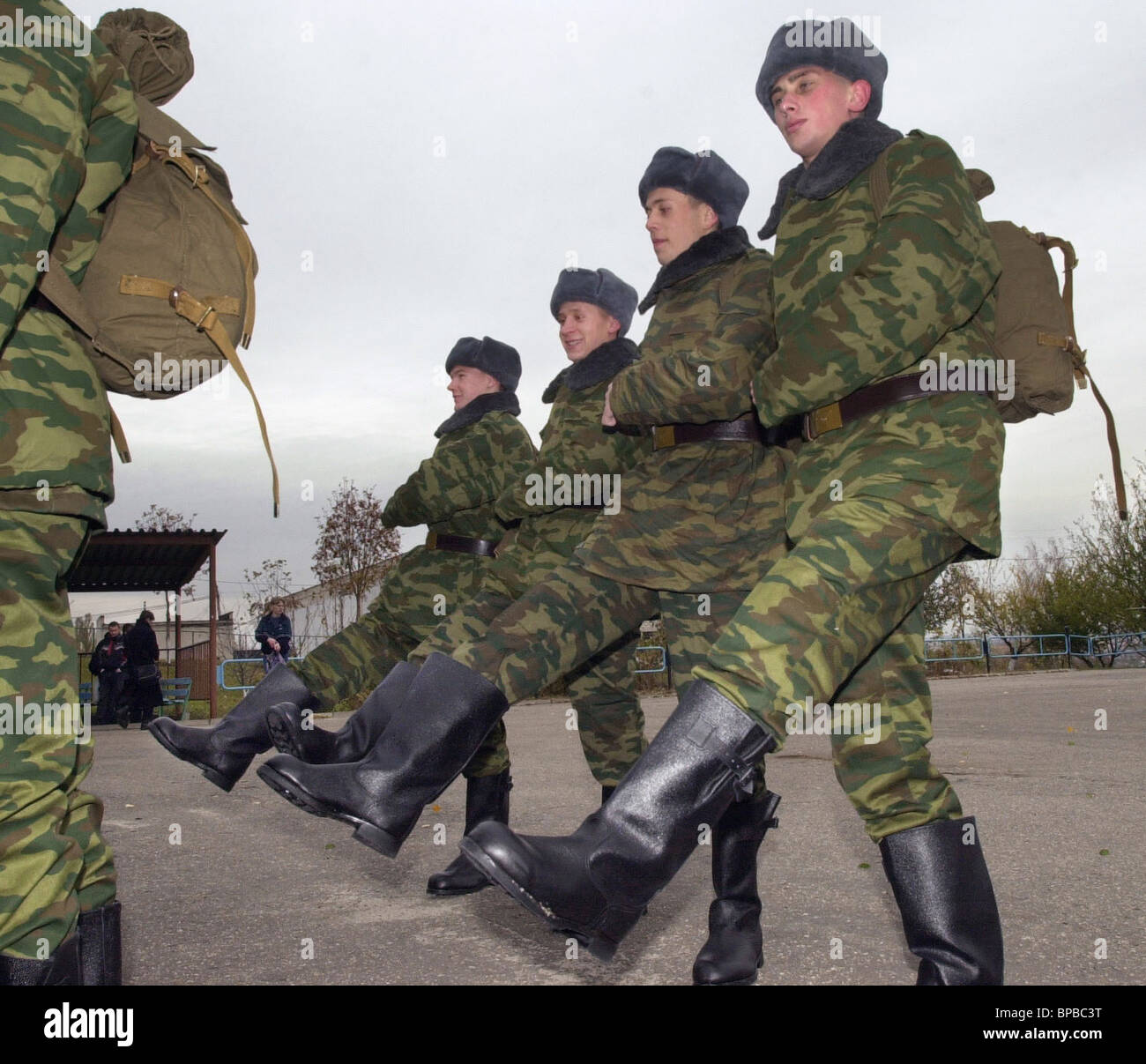 The autumn draftees sent to military units - Stock Image