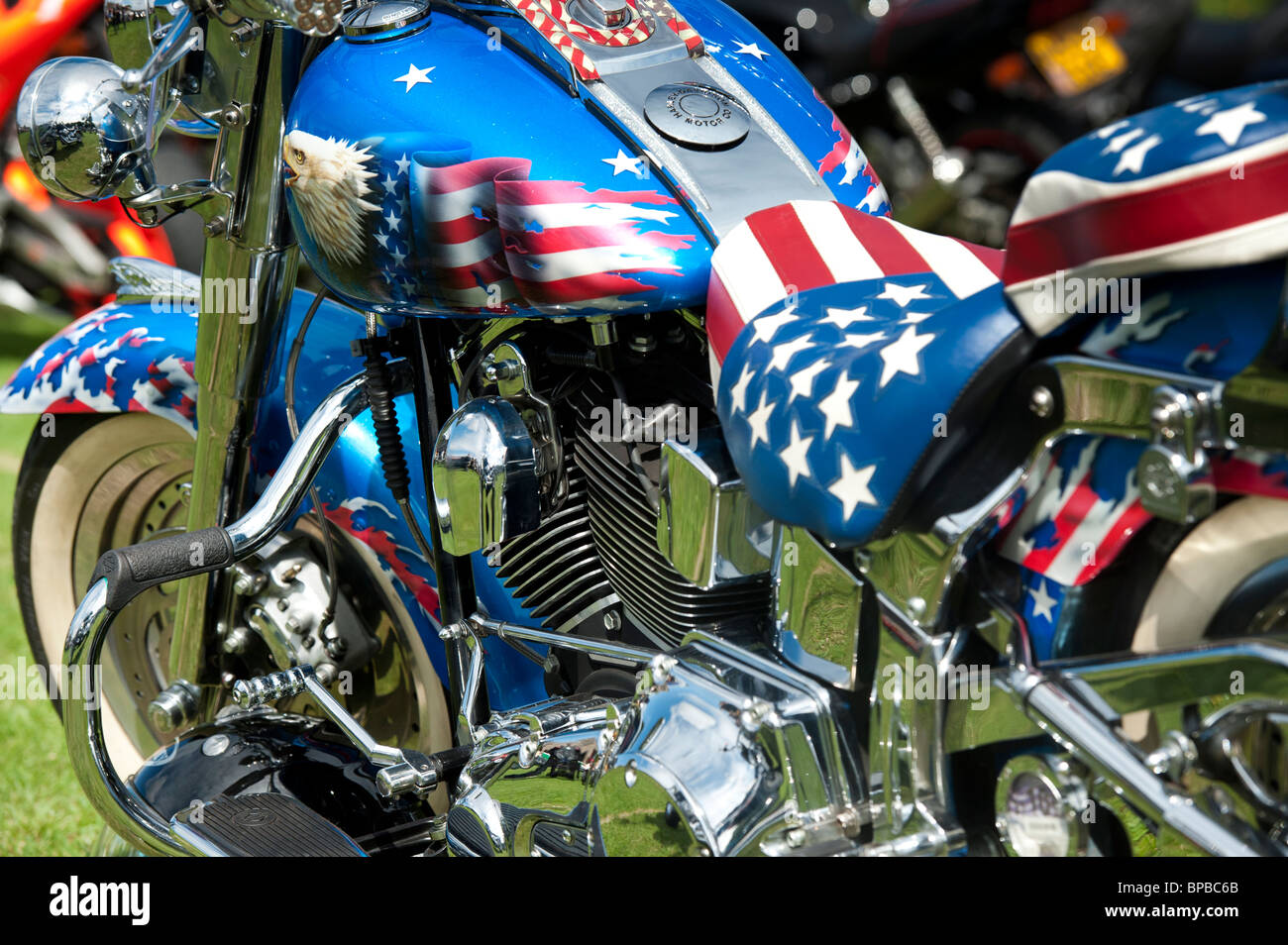 Harley Davidson Motorcycle With Custom American Flag Paint Work Stock Photo Alamy