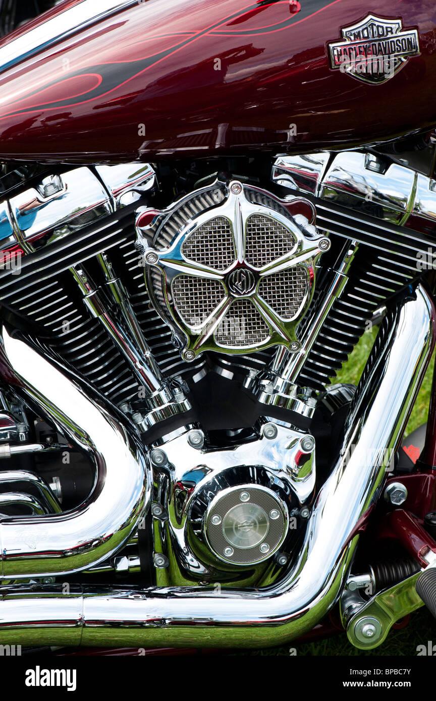 Harley Davidson motorcycle chromed v twin engine - Stock Image