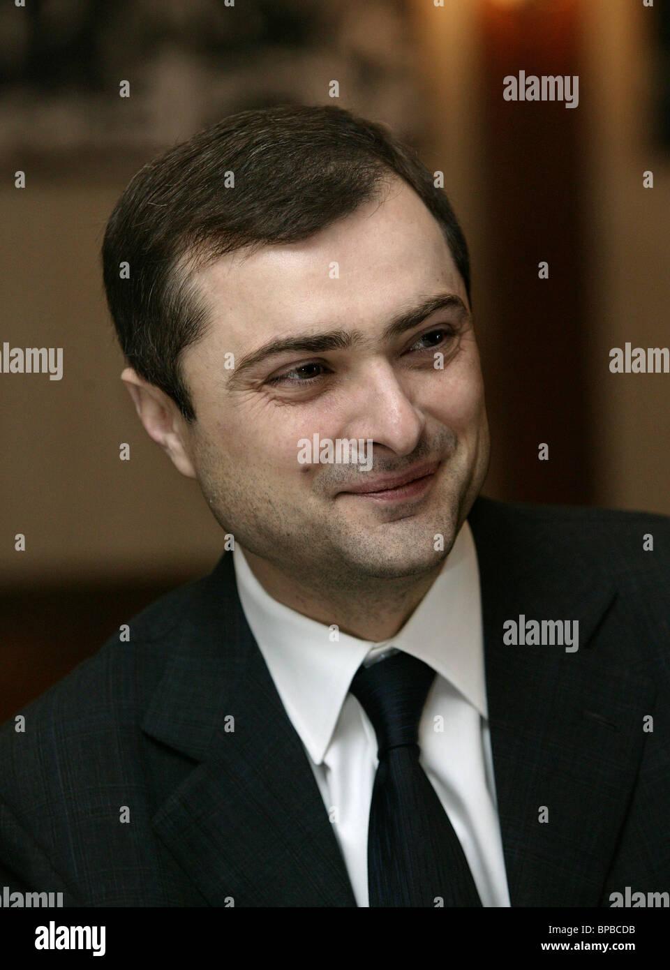 Vladislav Surkov holds press conference at ITAR-TASS news agency - Stock Image