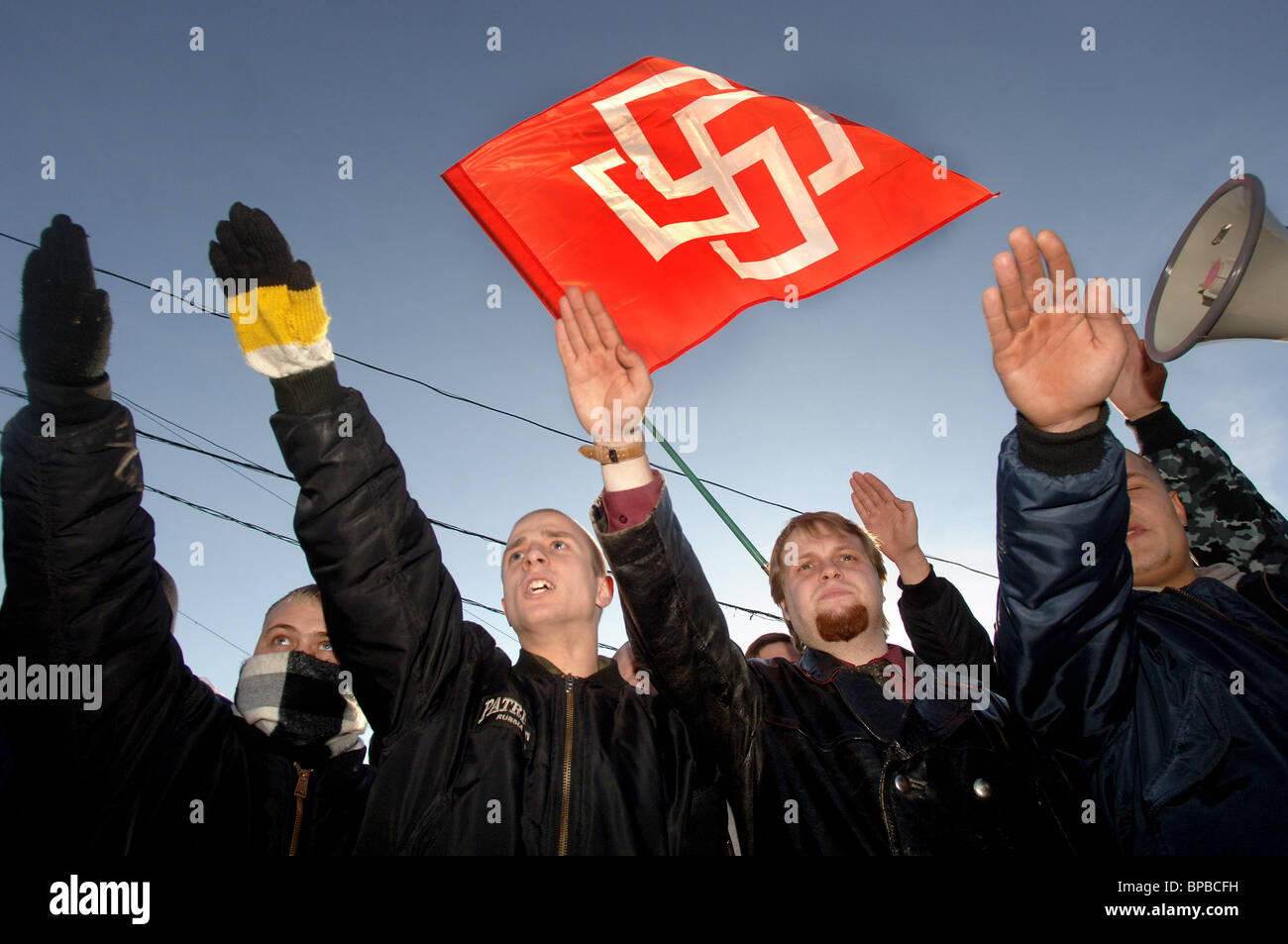 Members of radical nationalist organisations stage protest action in Moscow - Stock Image