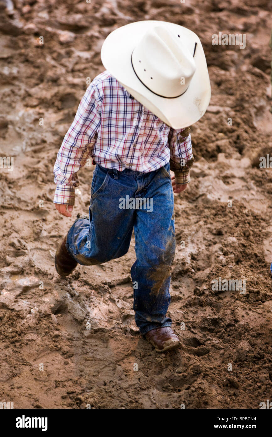 Young cowboy, Chaffee County Fair & Rodeo - Stock Image