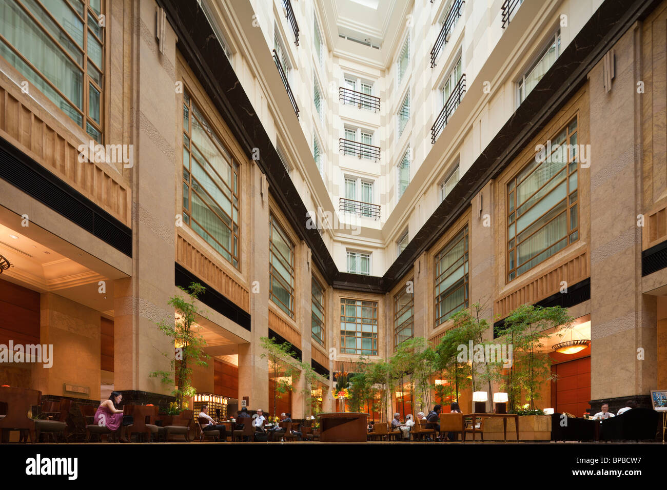 interior of the Fullerton Hotel Singapore - Stock Image