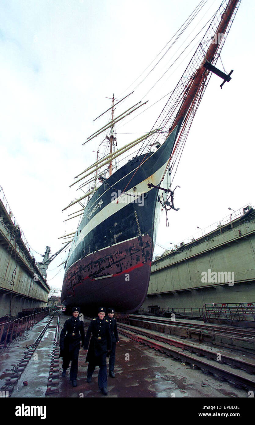 barque Kruzenshtein in a floating dock. - Stock Image