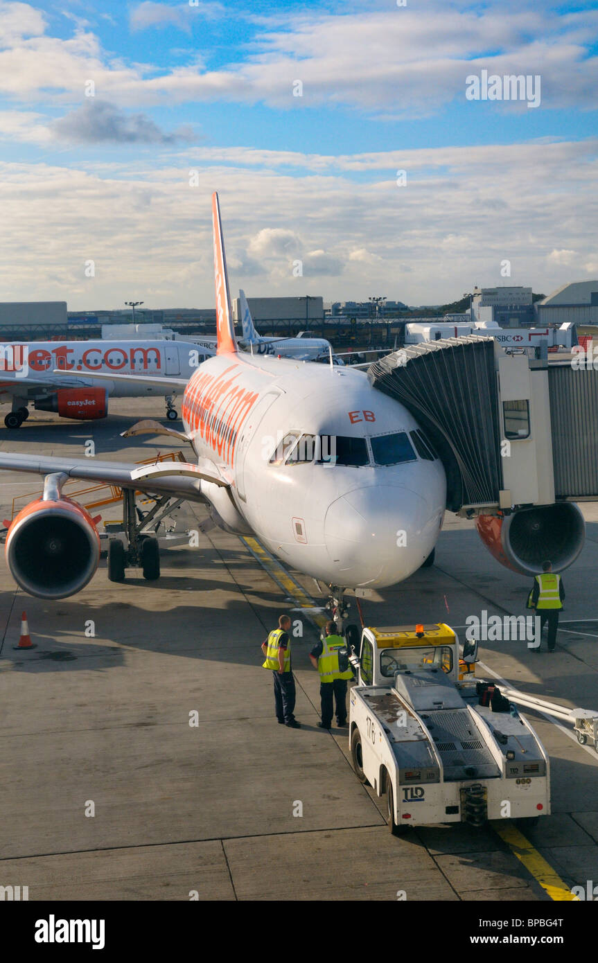 Easyjet aircraft on airfield at London Gatwick Airport, UK - Stock Image