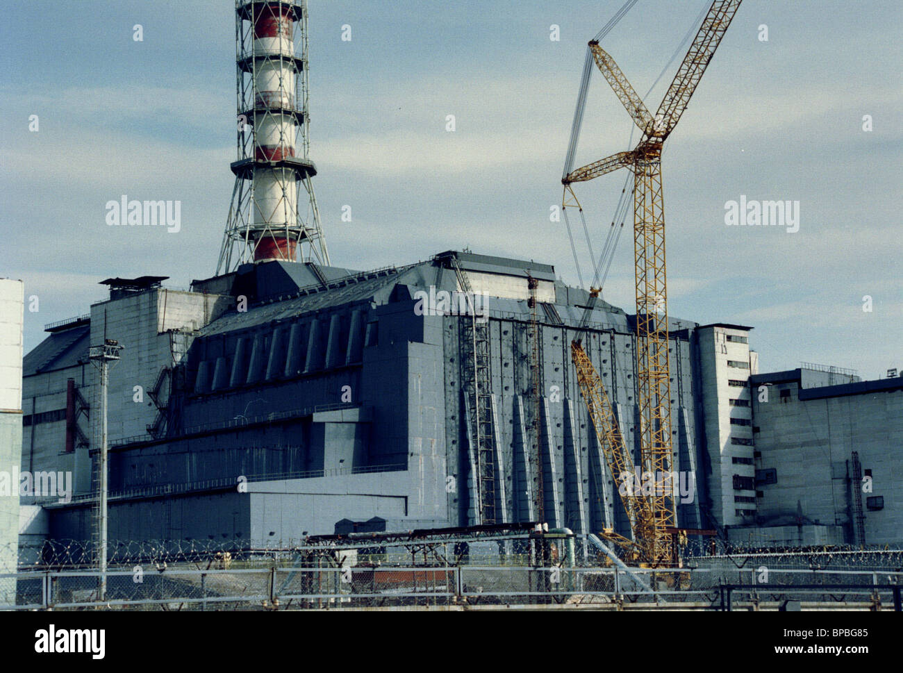 Chernobyl N-plant Unit 4 10 years after the disaster. - Stock Image