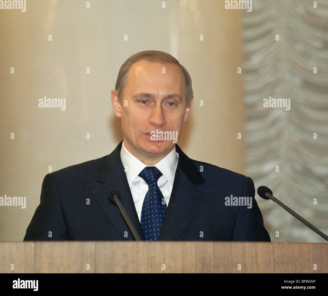 President Putin attends the meeting on the occasion of the 10th anniversary of courts of arbitration. - Stock Image