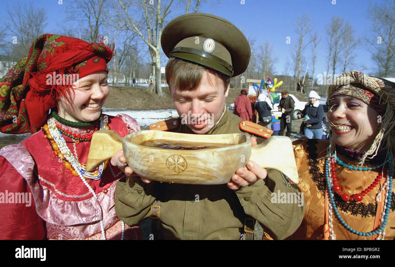 Maslenitsa ,or Butter Week, celebrated in Yaroslavl - Stock Image
