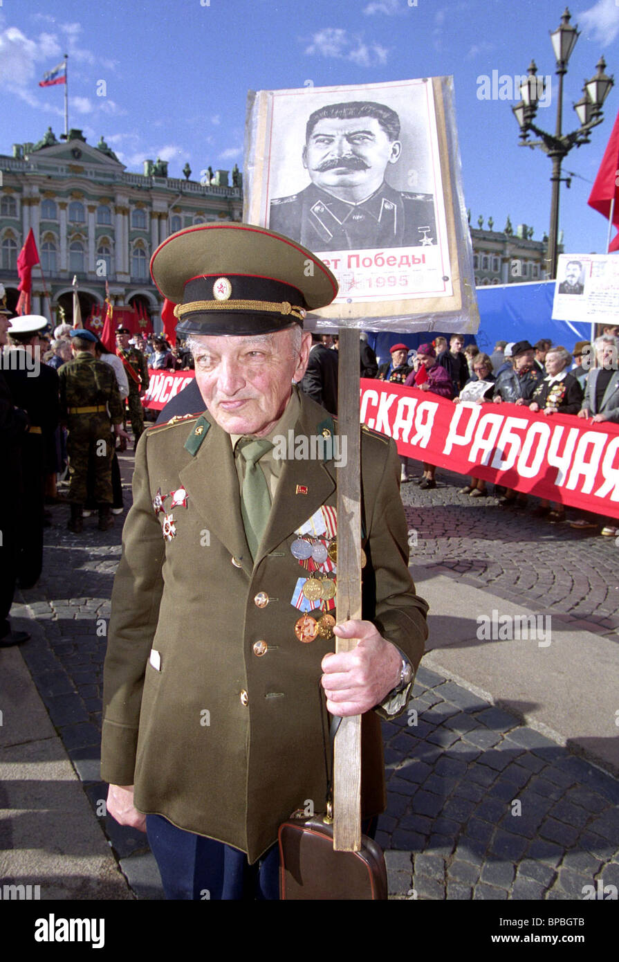 Participant in rally of Russian Communist Workers' Party - Stock Image