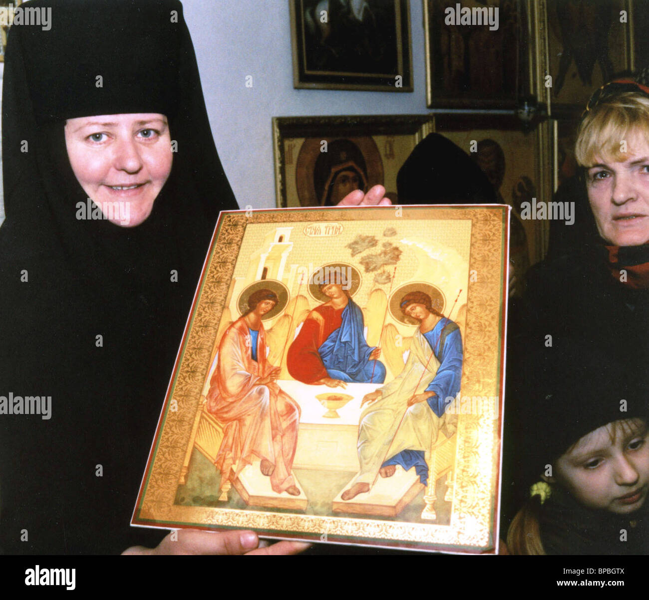 Myrrth-streaming icons in St.Trinity / St.George convent in Krasnodar Region - Stock Image