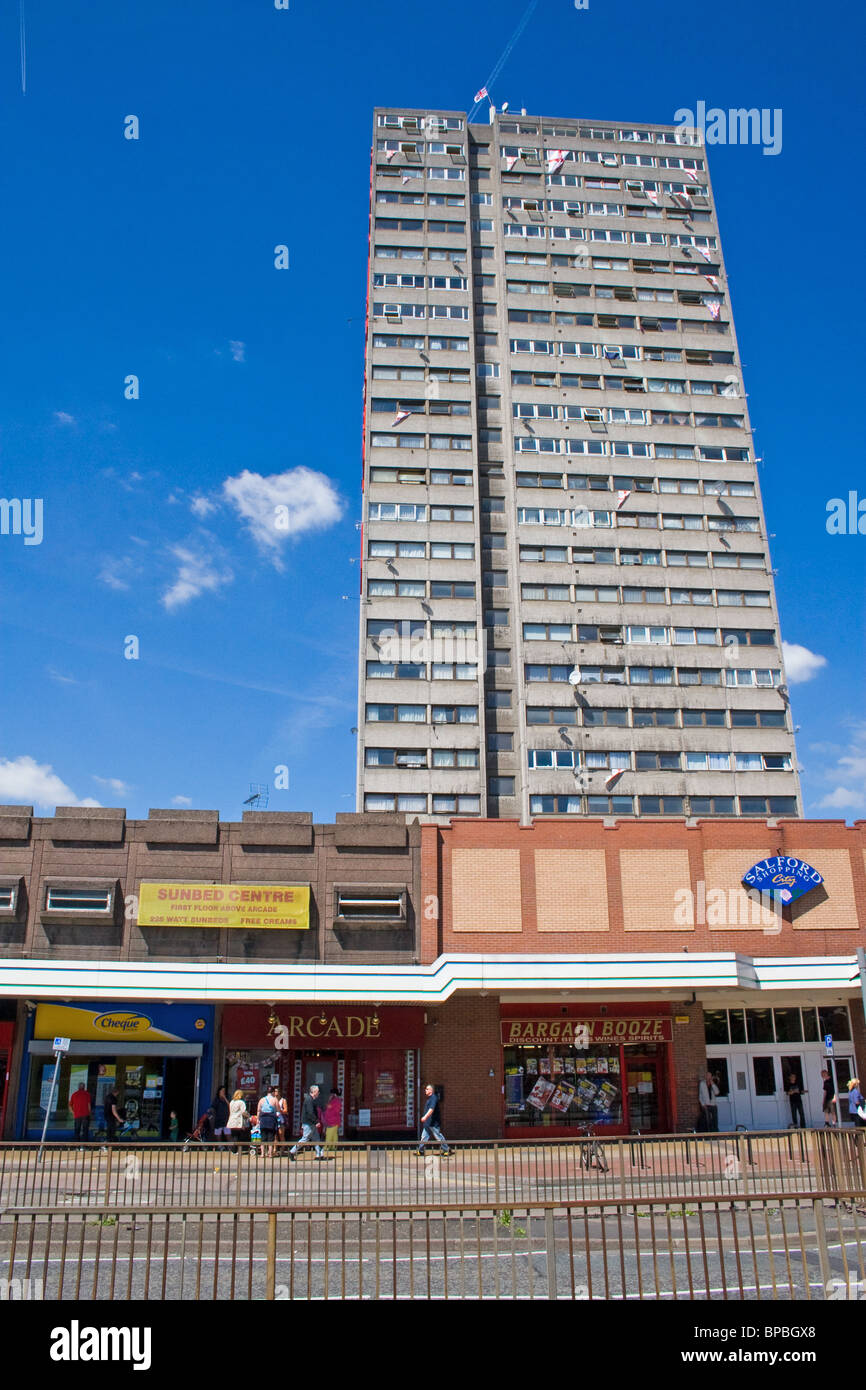 Salford Shopping City, shopping centre and residential tower block, Salford, Greater Manchester. UK - Stock Image