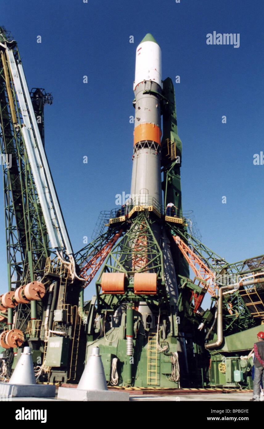 Soyuz rocket with Progress-M-46 transport spaceship on the launcher in Baikonur - Stock Image