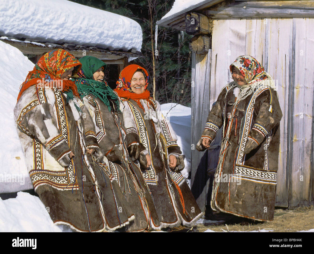 Khanty women in their national dress Stock Photo