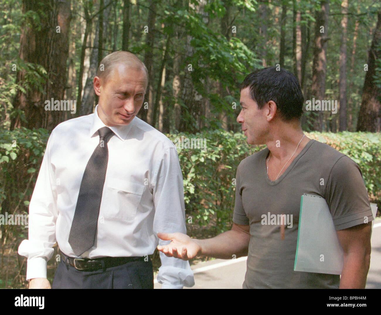 Meeting of President Vladimir Putin with popular singer Oleg Gazmanov - Stock Image