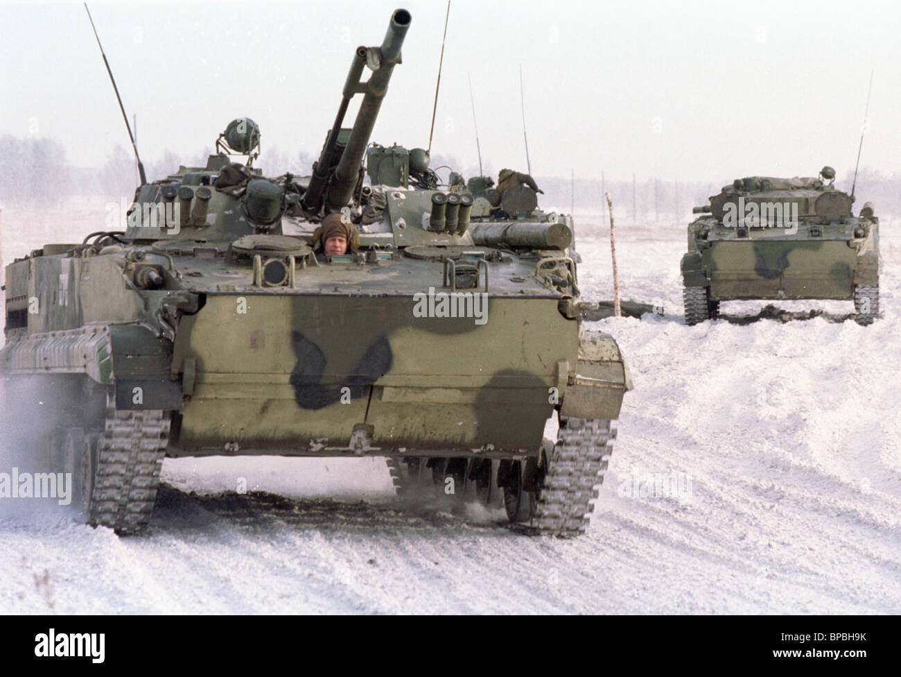 Armoured personnel carrier BMP-3 during last regimental tactical field exercises occurred in the Siberian Military - Stock Image
