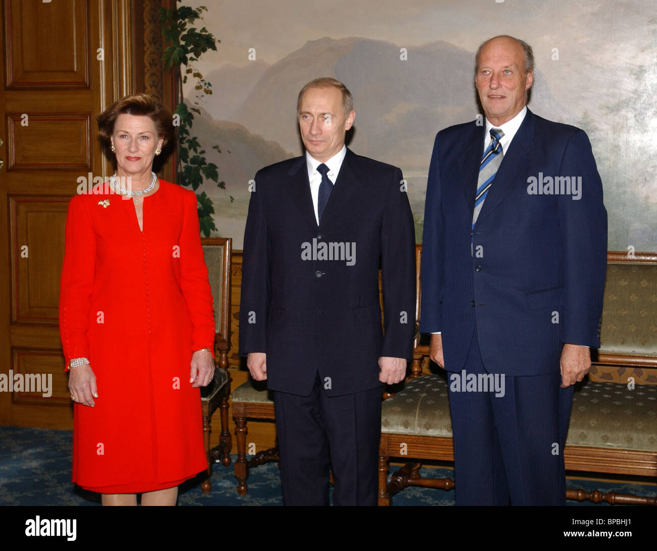 President Putin meets King Harald V and Queen Sonja of Norway - Stock Image