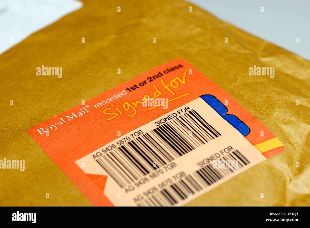 Royal Mail Recorded Delivery - Stock Image