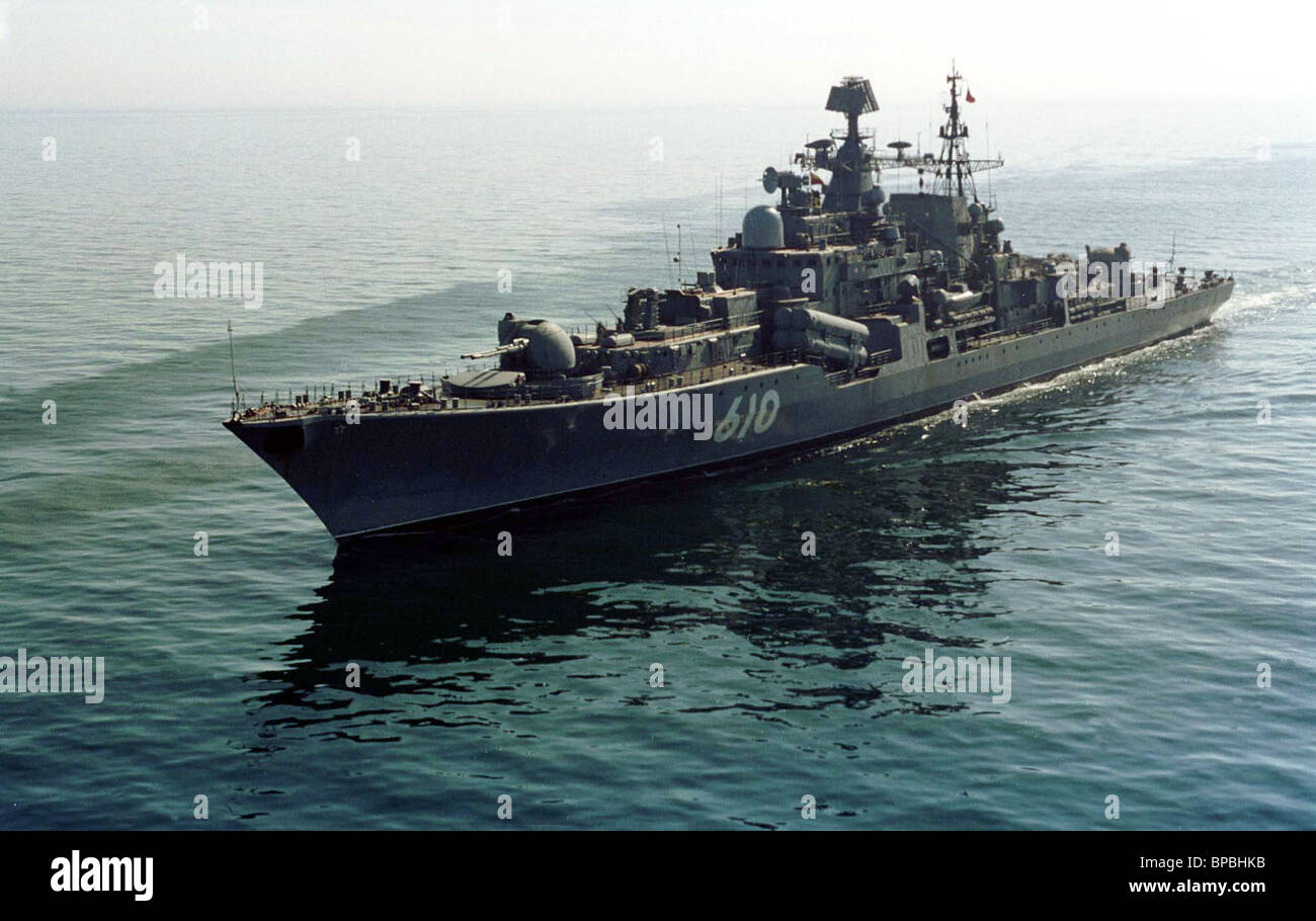 Flag ship of the Baltic Fleet, destroyer Nastoichiviy (the Obstinate) - Stock Image