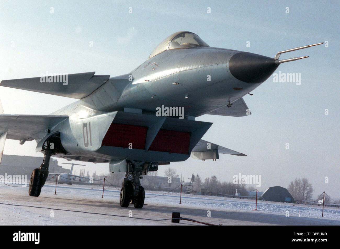 Latest MIG multi-functional fighter of fifth generation which is almost invisible to radars was demonstrated on - Stock Image