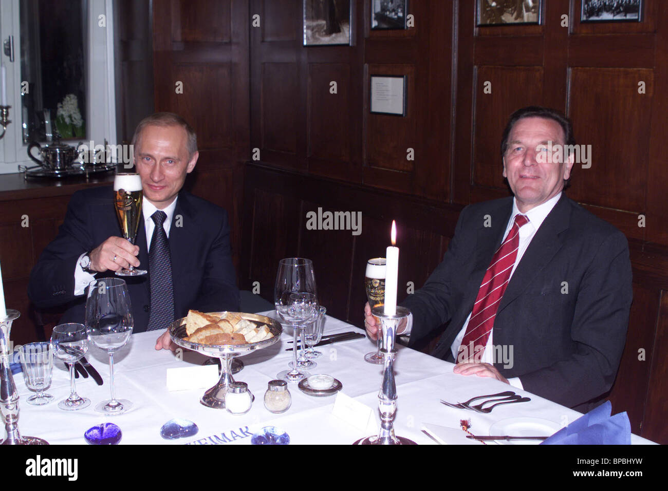 President Putin and Chancellor Schroeder have a dinner in the Old Weimar restaurant. - Stock Image