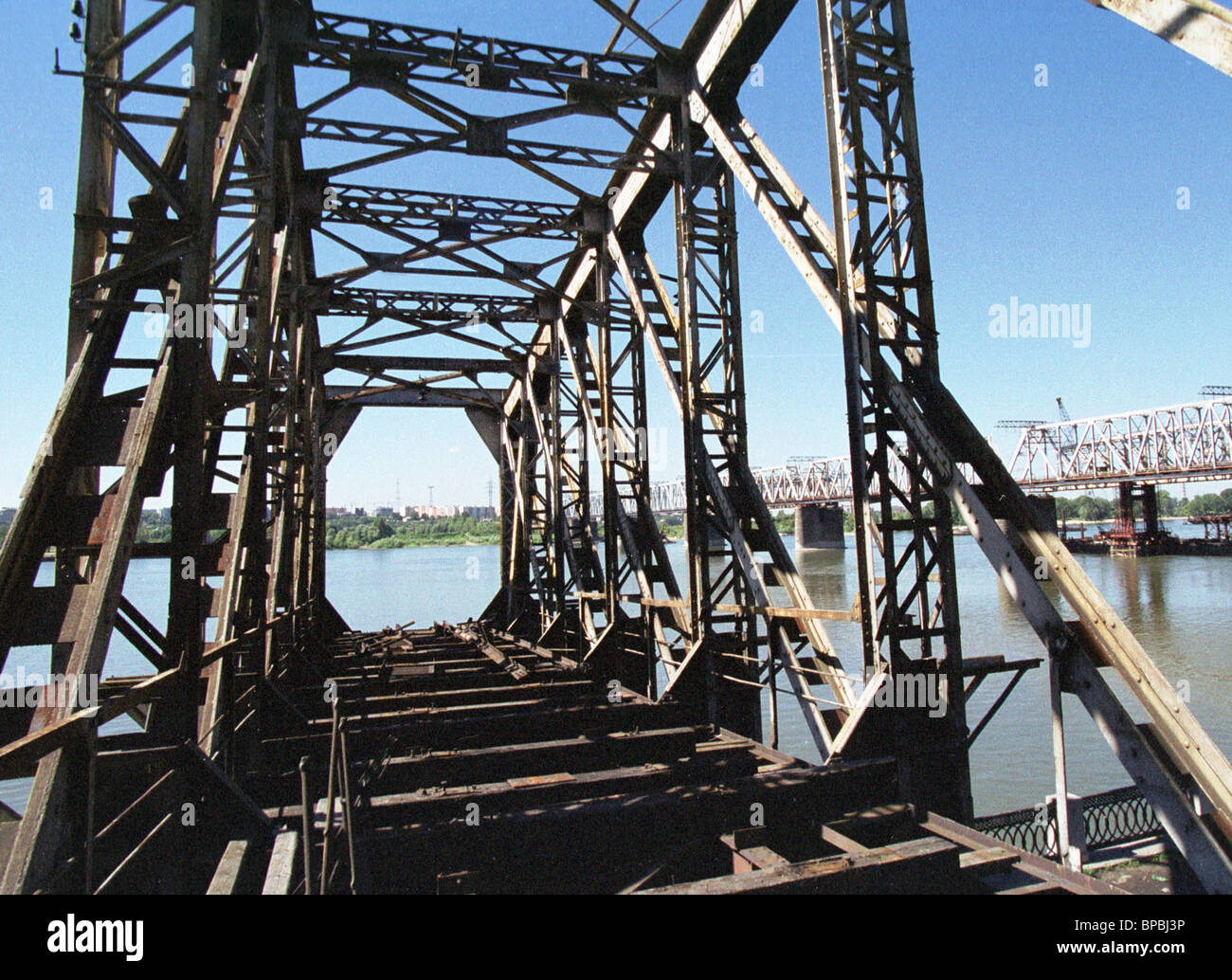 A bridge span of the Trans-Siberian railway as a museum exhibit - Stock Image
