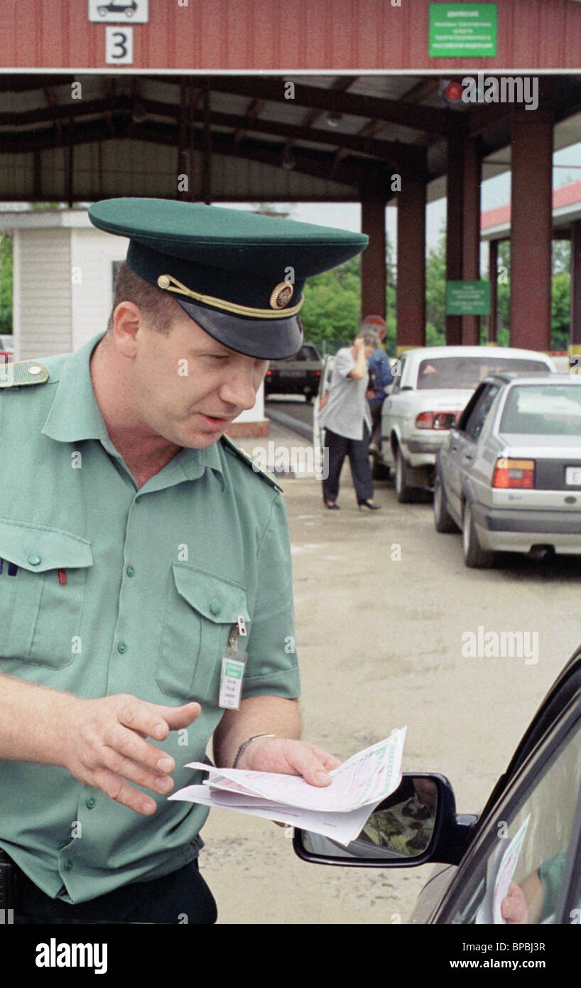 Russia has enacted the law on mandatory insurance of responsibility of owners of transport vehicles. - Stock Image