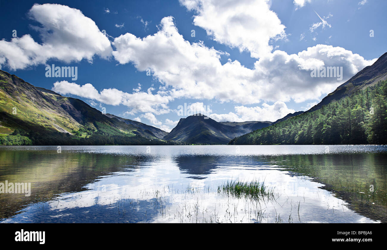Beautiful Shot Across Lake Buttermere in the North West Lakes of the Lake District, Cumbria, UK - Stock Image
