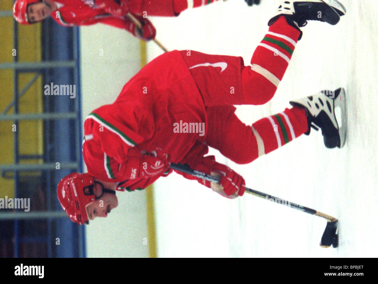 Byelorussian President Alexander Lukashenko /ops/ as a leader of Byelorussian team took part in ice-hockey unofficial - Stock Image