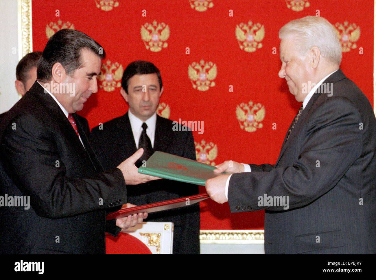 exchanging documents - Stock Image