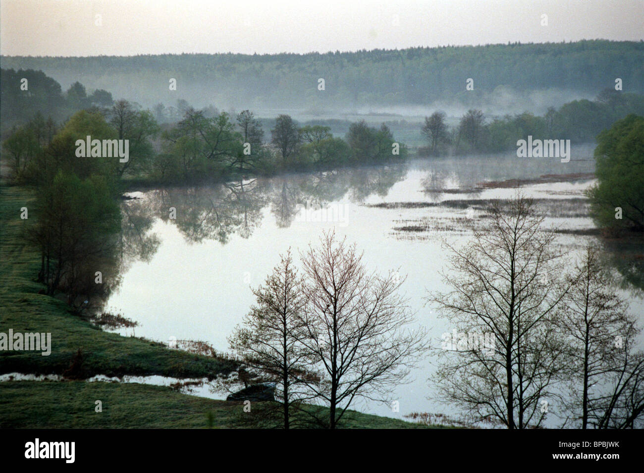 The picture shows the river Sukhodrev flowing near the park of the Goncharov family country estate Polotnyany Zavod - Stock Image