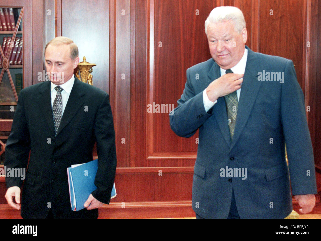 Russian President Boris Yeltsin shown during the meeting with Russian Security Council Secretary Vladimir Putin - Stock Image