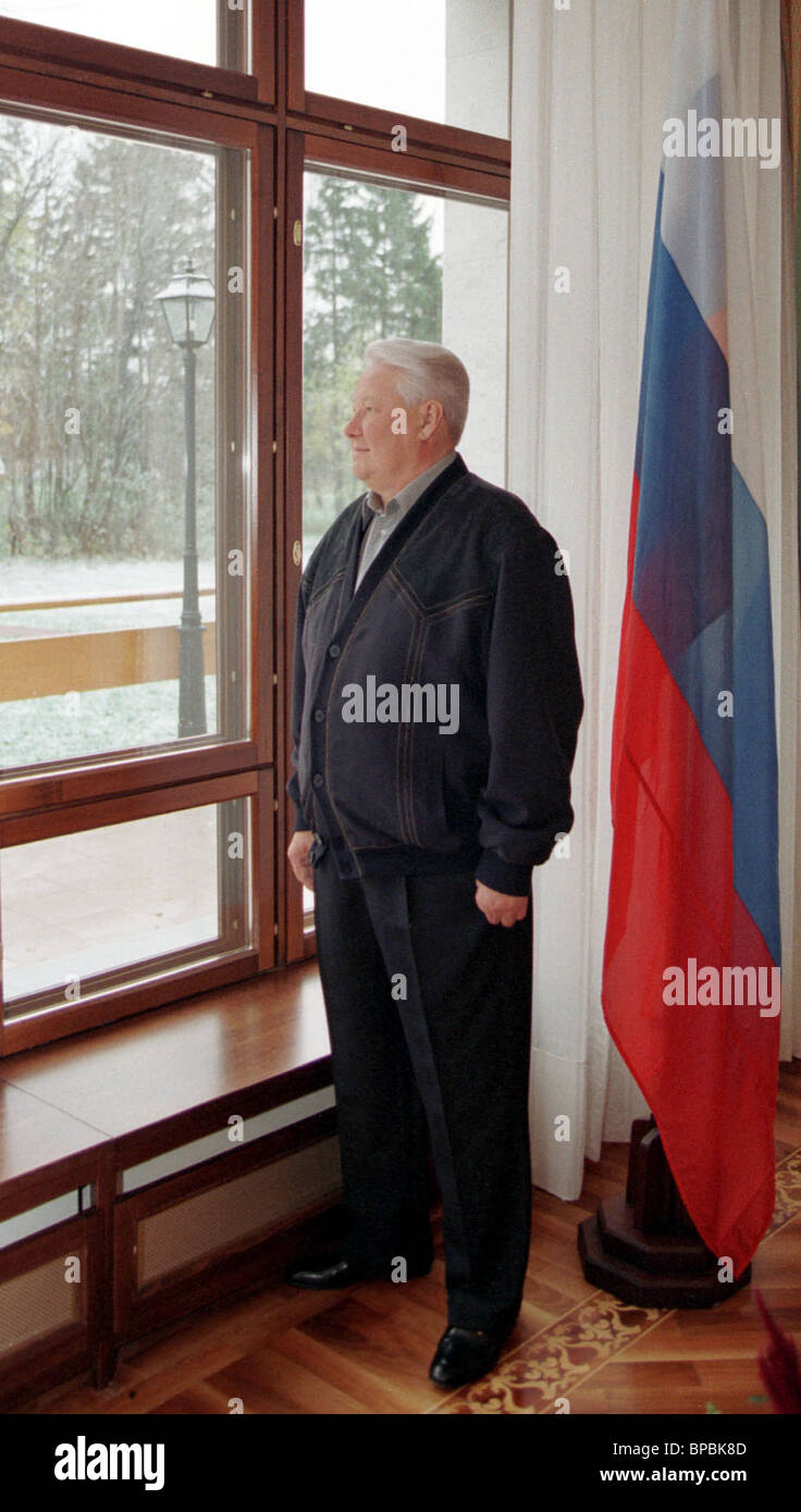 Russian President Boris Yeltsin pictured prior to his meeting with Chairman of Government of Russian Federation - Stock Image
