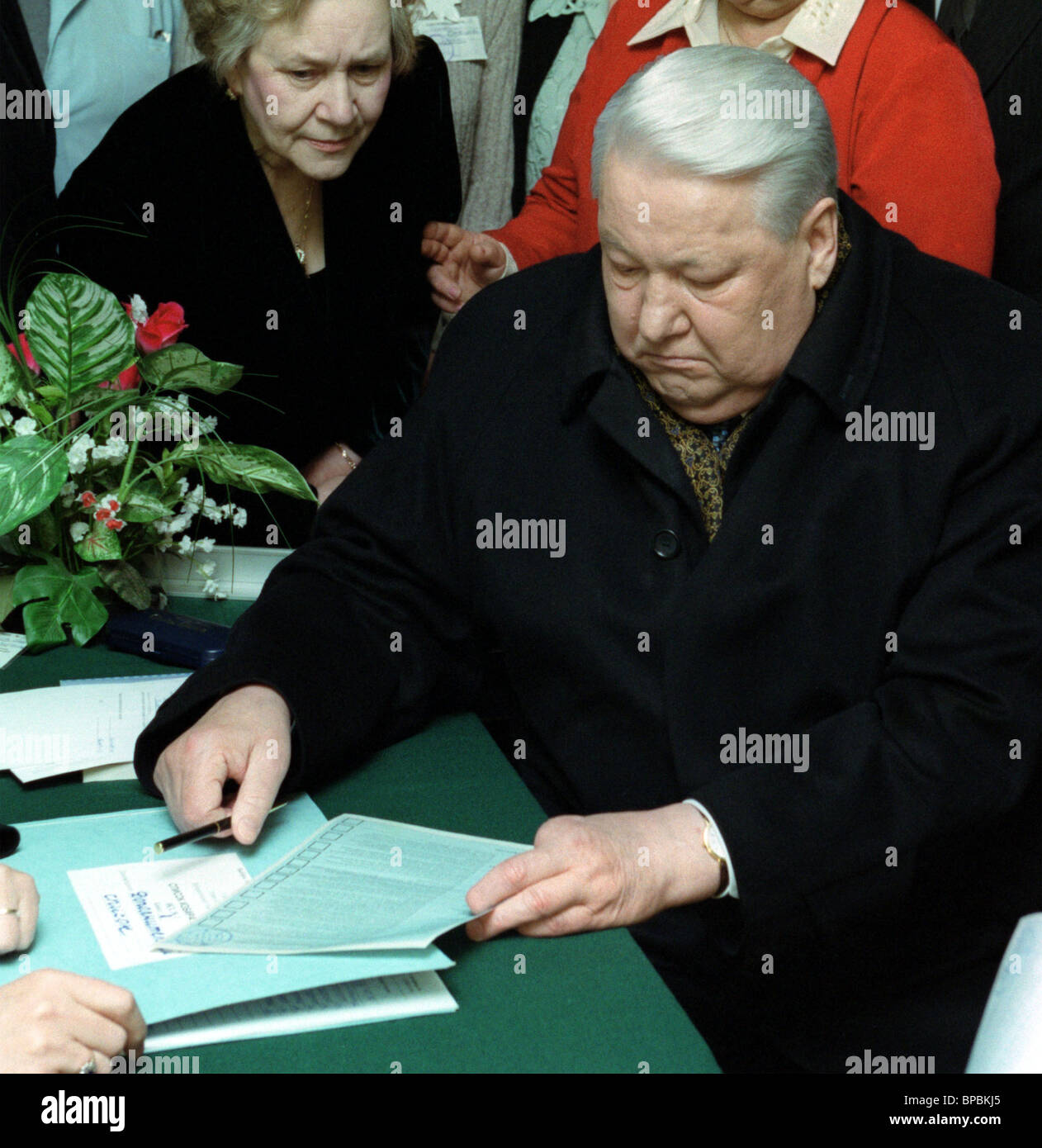 Former Russian President Boris Yeltsin participates in the elections, - Stock Image