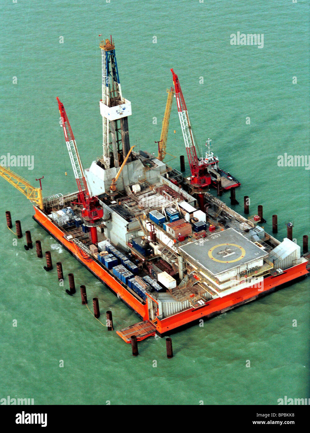 On the rig Sunkar an exploration drilling works. - Stock Image