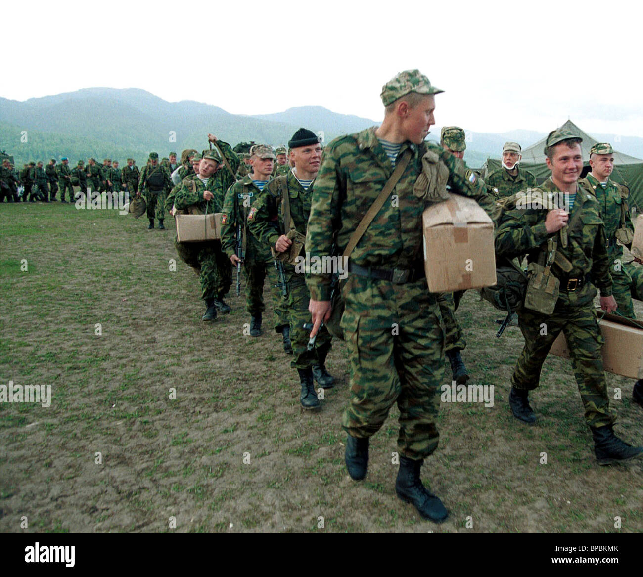 Paratroopers of 51-st regiment of 106-th air-borne division who have served their term in Chechnya were dischaged - Stock Image