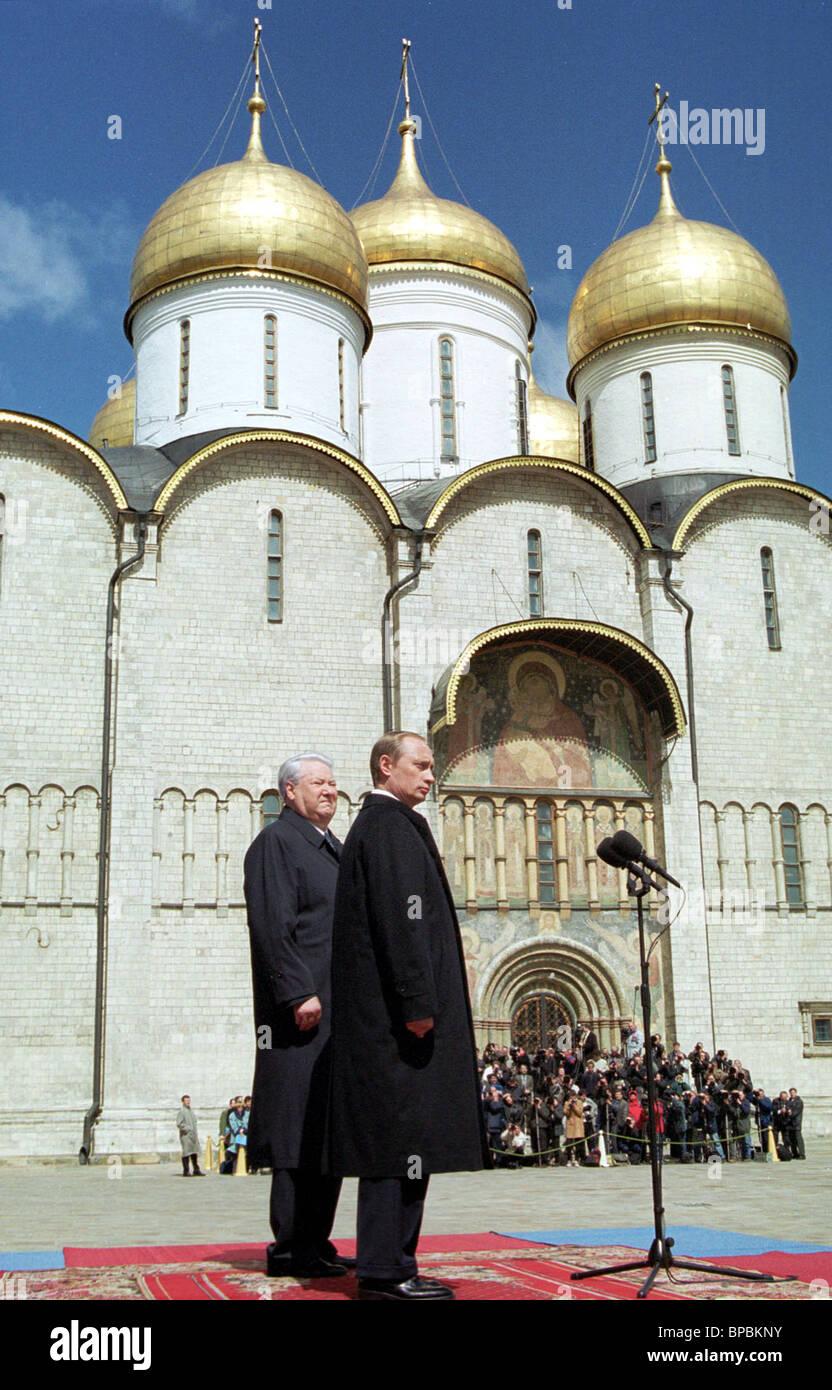 Vladimir Putin and Boris Yeltsin at the Cathedral square in the Kremlin - Stock Image
