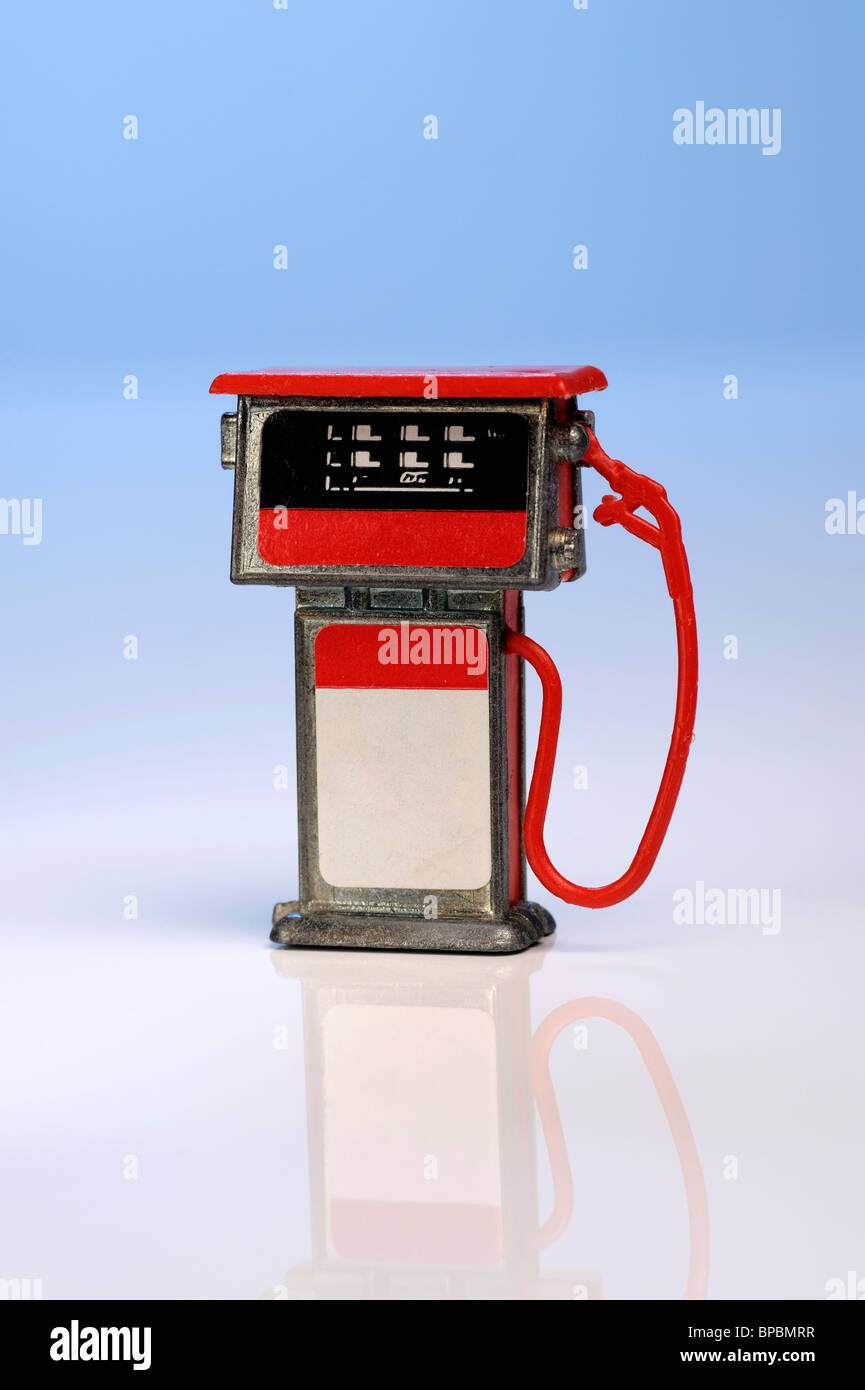 Toy miniature petrol pump - Stock Image