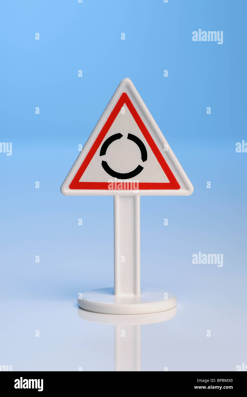 Toy roundabout sign - Stock Image