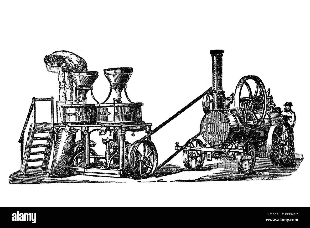 Millstone moved by steam engine. Antique illustration. 1900. - Stock Image