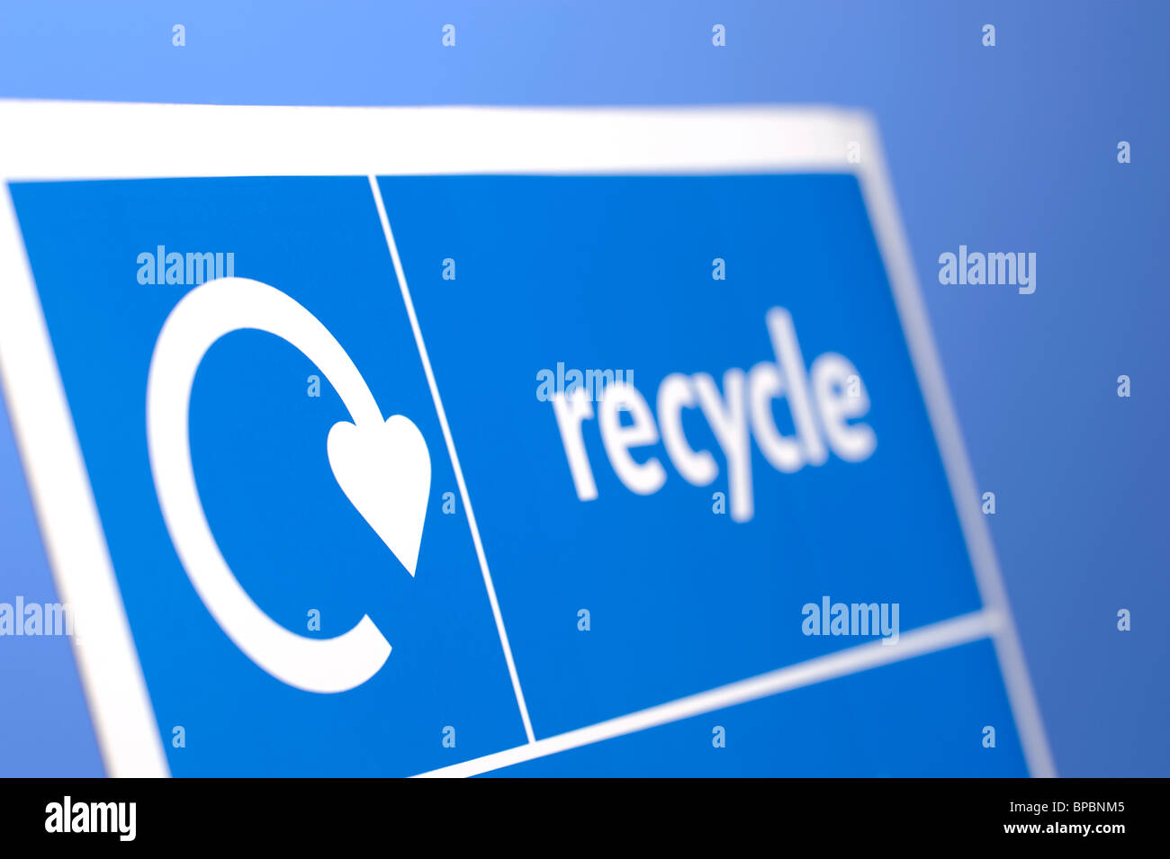 Blue Recycle sign - Stock Image
