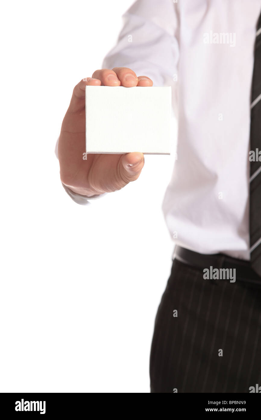 An expert adviser presents his business card. All isolated on white background. - Stock Image