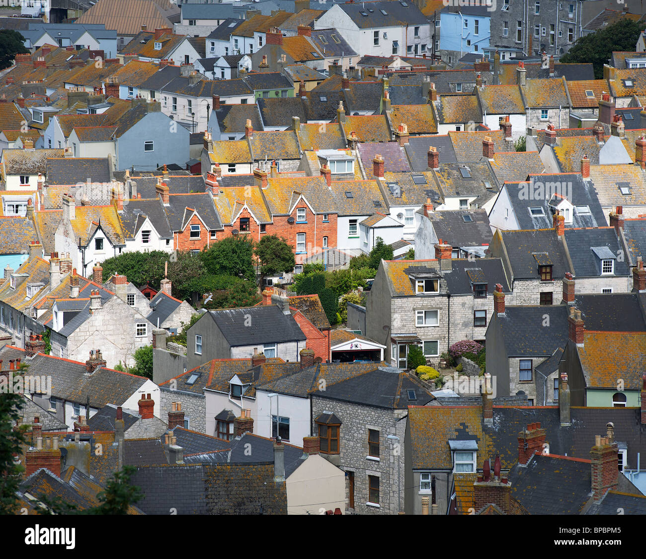 Rooftops of Fortuneswell overlooking Portland Harbour, Weymouth, Dorset, UK - Stock Image