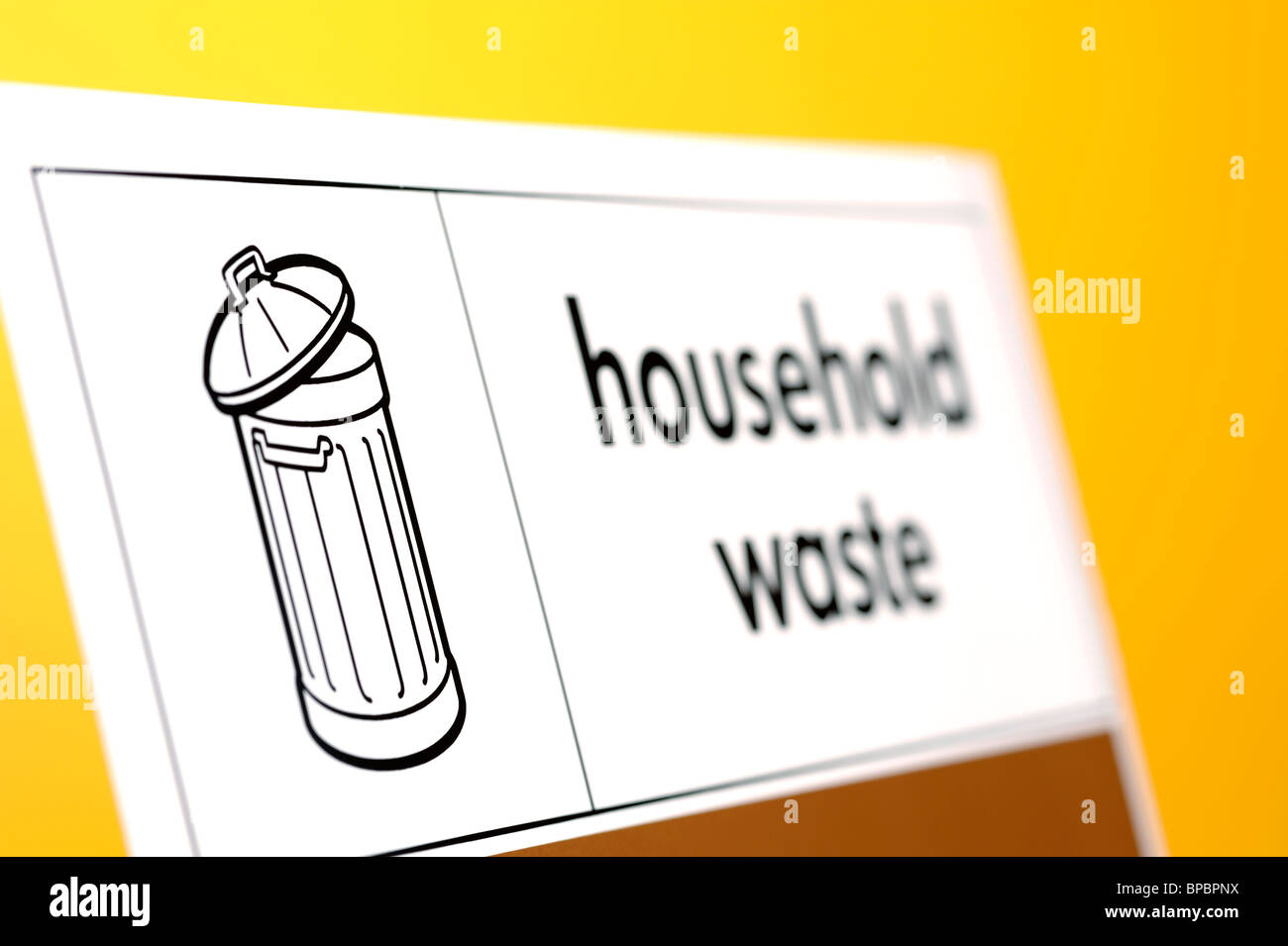 Household waste sign - Stock Image