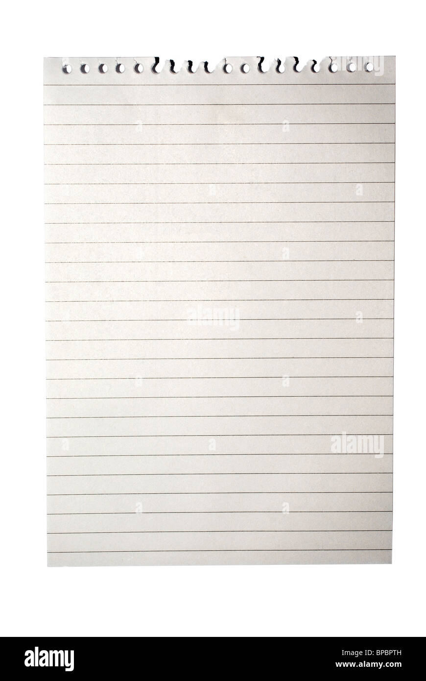 blank note paper from notebook with lines isolated on white with