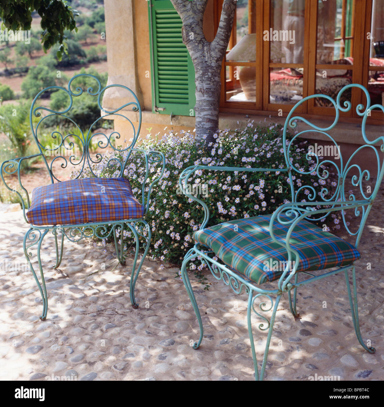Checked Cushions On Ornate Green Wrought Iron Chairs In Shady Pebble Paved  Seating Area With Geranium Under Planted Below Tree