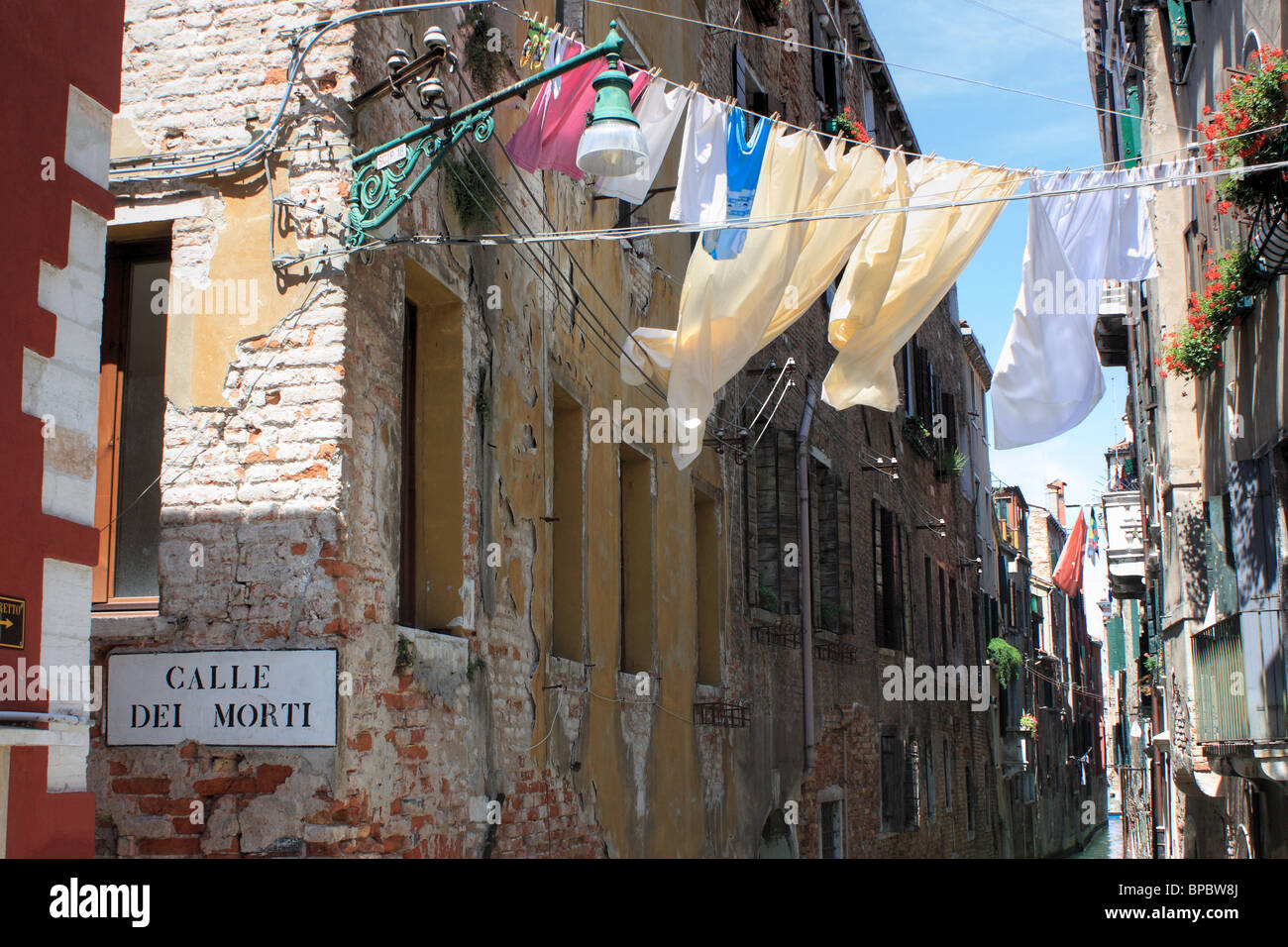 Clothesline in the wind, Venice, Italy - Stock Image